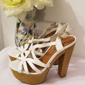 Size 6B/36 White Jessica Simpson platform Sandals